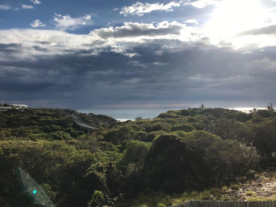 Outlook from garden towards ocean