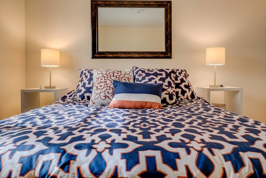 Queen-sized bed with guaranteed fresh sheets every cleaning.