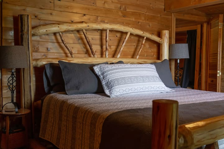Master bedroom with king size log bed