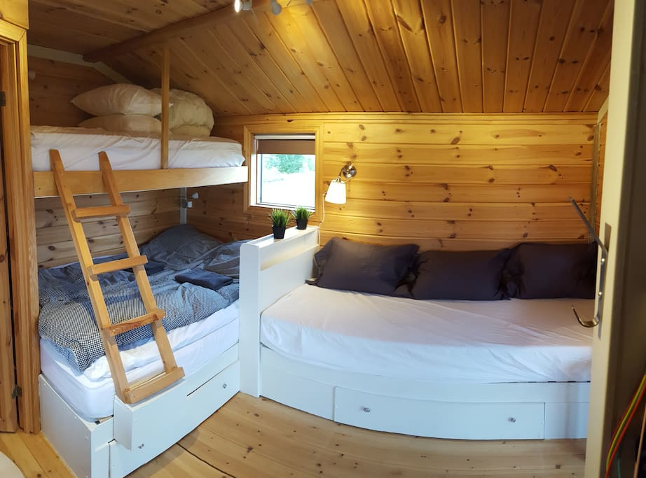 The cabin has three beds.