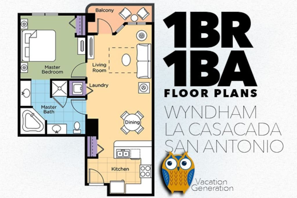 Floor Plans and Layout of 1 Bedroom Wyndham La Cascada Vacation Condo Rental in San Antonio Texas