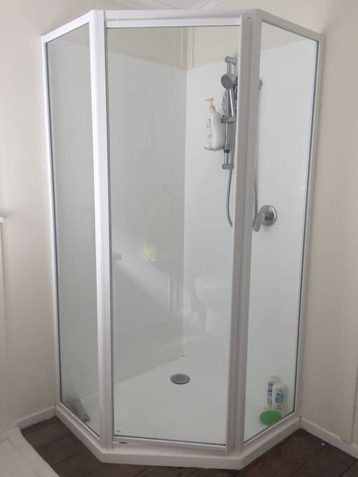 Shiny and new shower stall