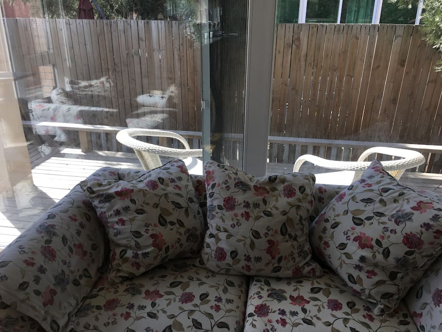 1st floor, small backyard you can enjoy in the morning or afternoon with two chairs