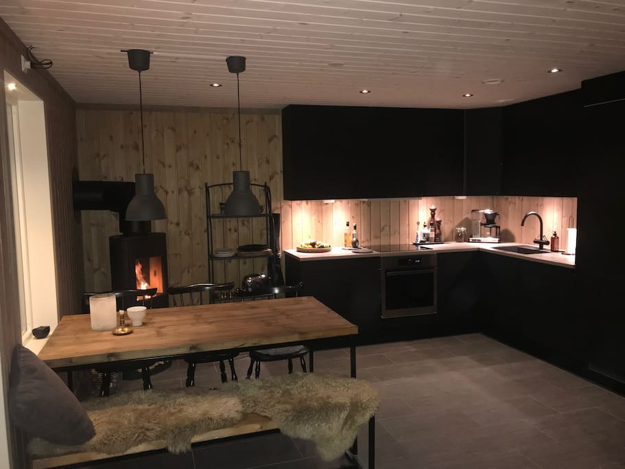 Very modern Kitchen with an open fire