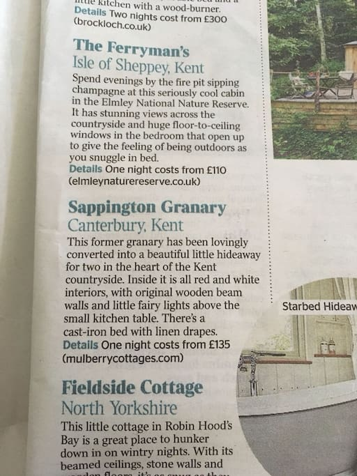 """Proud to be featured in The Times Weekend Section.    """"Love Nests -  Great Places for Two""""  Saturday 3rd Feb 2018"""