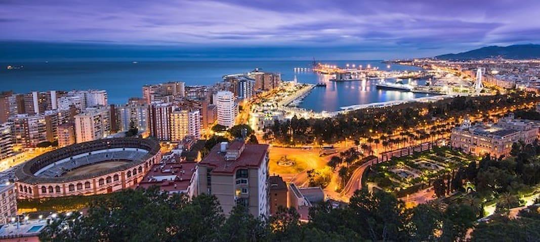 El apartamento se encuentra justo detrás de la plaza de toros, a 400m de la playa de la Malagueta, a un par de minutos del puerto de Málaga-Muelle Uno y a 5 del ayuntamiento y principales museos.
