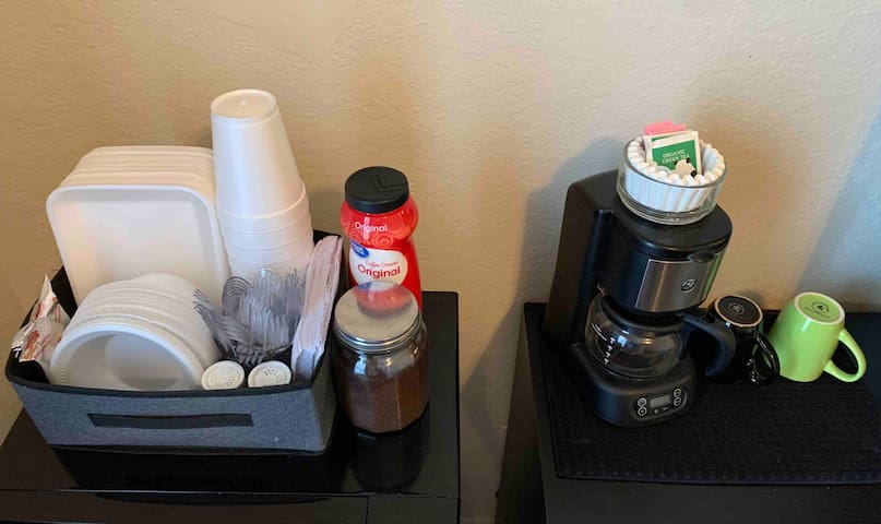 Disposable dishes and utensils, salt & pepper, coffee and tea are all provided for guests to enjoy their own meals and a delicious start to the day.