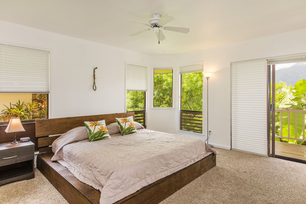 Master bedroom has a king size bed, walk in closet, its own bathroom and a beautiful lanai