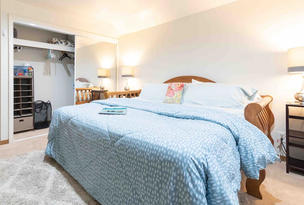 Great closet space, extra pillows & blankets, laundry hamper and ironing board.