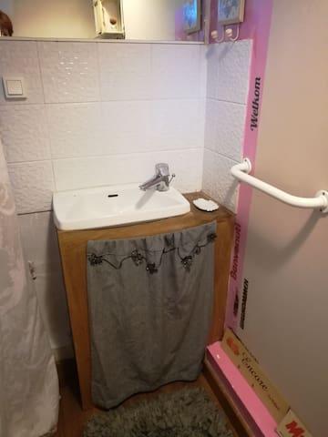 coin toilette,petit lavabo PAS DE SERVIETTES FOURNIES