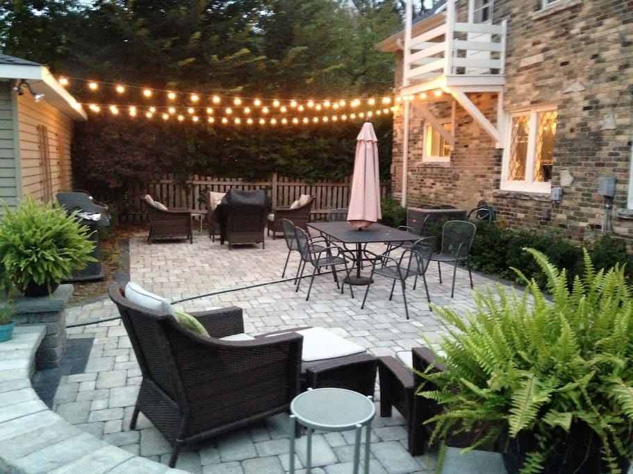 1200 sq foot patio with grill and fire bowl. Seats 12