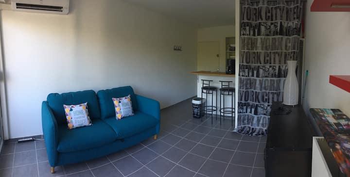 Studio proche centre-ville, clim, parking, wifi