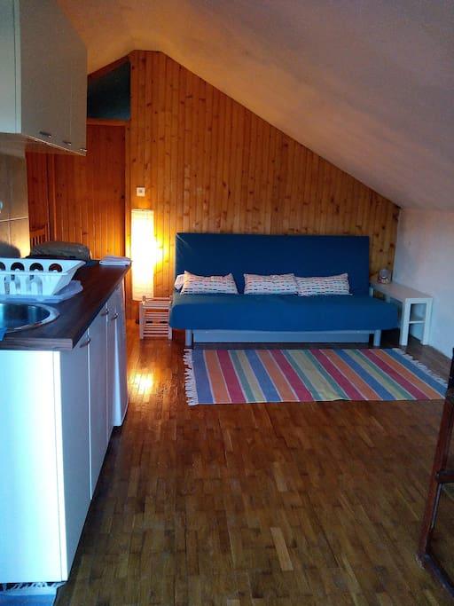 Living room + dinning room + kitchen