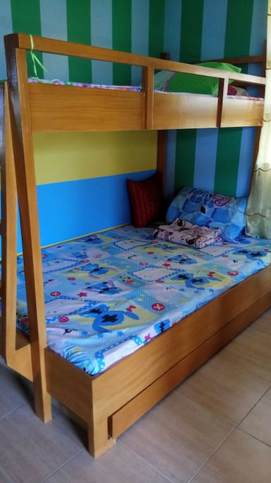 double deck bed with foldable matress bed