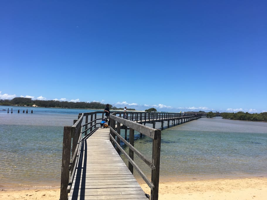 Urunga Boardwalk out to the sea. Walk across the estuary , through the mangroves, to the beach.  A beautiful walk from the cottage.
