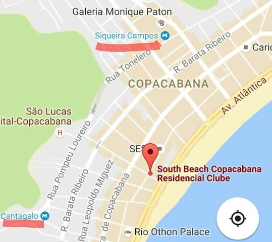 Localização das estações de metrô próximas ao apart hotel
