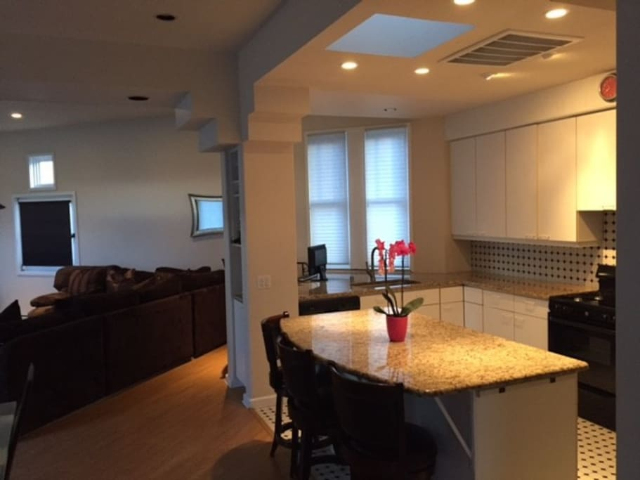 Large open kitchen/living area.