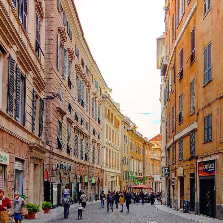In Genoa Center: Free Parking, Air Cond, Wifi