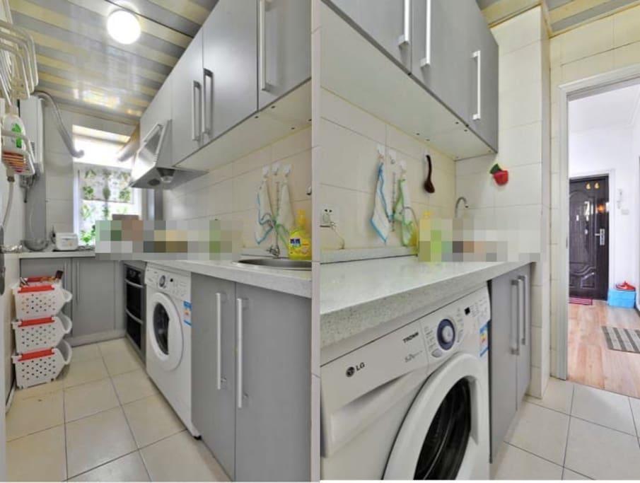 厨房~, 现在又新增了 烤箱和松下mini电饭煲。用品也别齐全的厨房