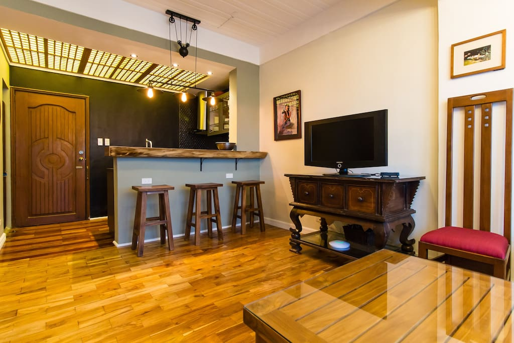 Wood slab bar and stools.