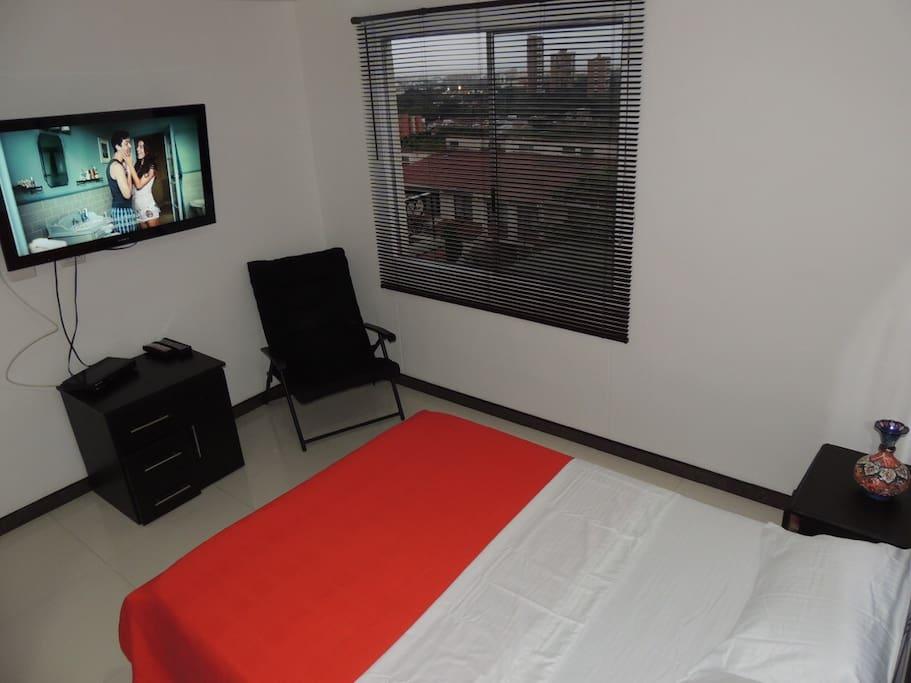 Cama doble, Tv HD, Señal por Cable, WiFi, Ventana con vista a la ciudad.
