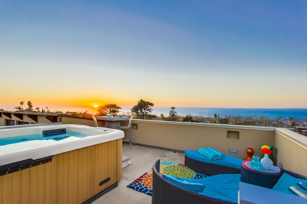 Enjoy amazing panoramic ocean views from rooftop spa deck.