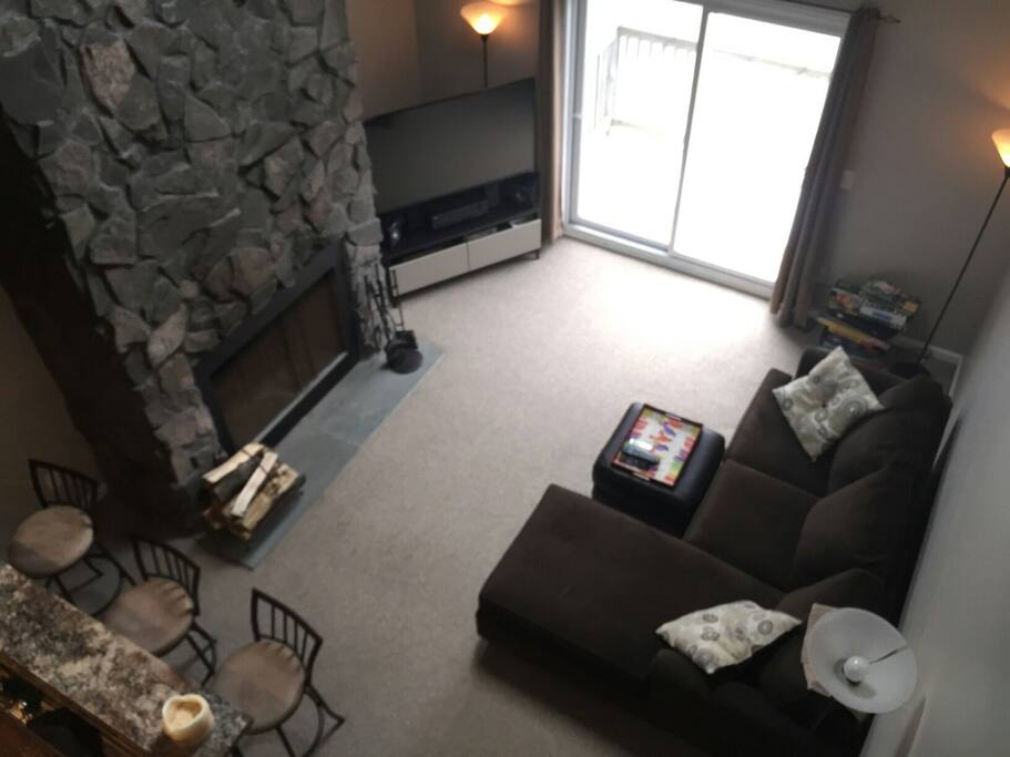 View of cozy living room from Mezzanine above