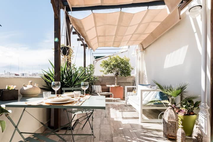 Romantic and Rustic Penthouse with a Sun Kissed Terrace
