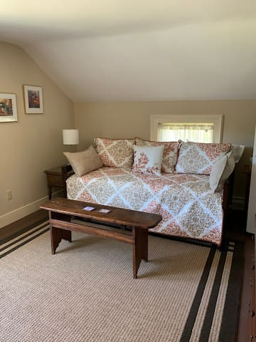There is a coded lock pad on the door to enter into the living room.  This is a trundle bed which can be made into two singles or a king bed.