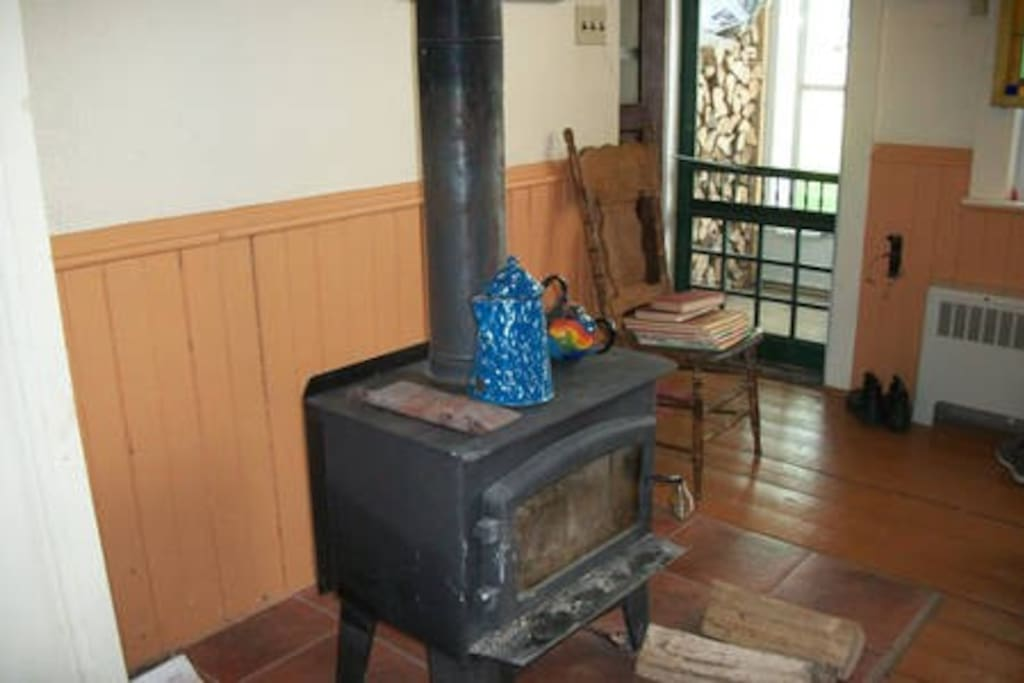 Wood burning fireplace in the  kitchen.