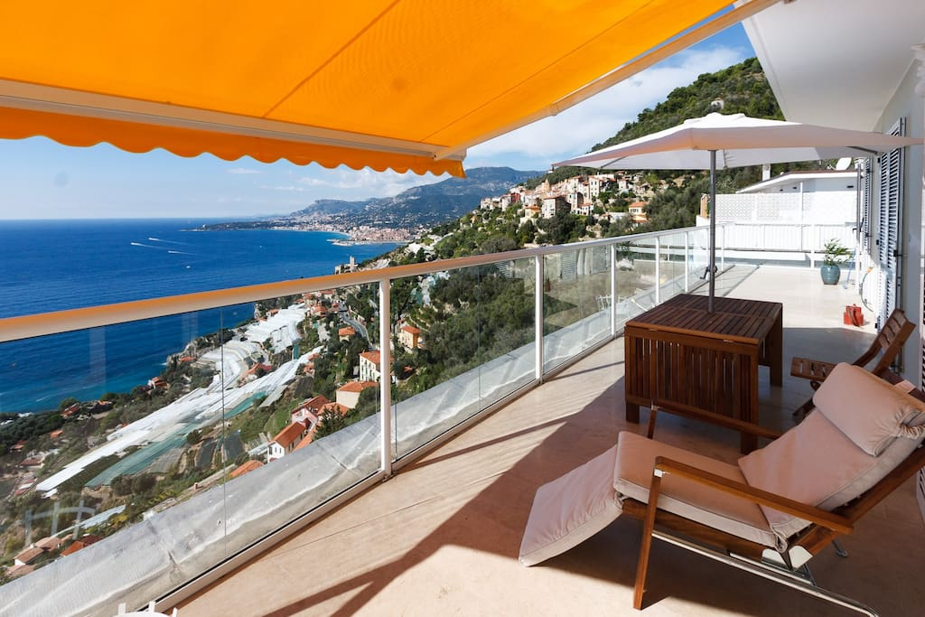 Balcony with awnings
