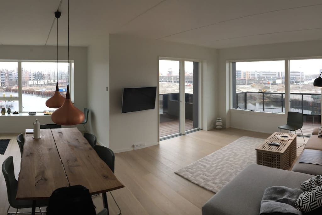 panoramic view of the kitchen/living room and balconies