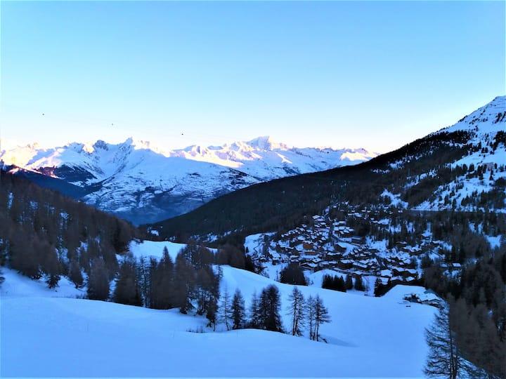 Studio La Plagne avec vue sur le Mont Blanc