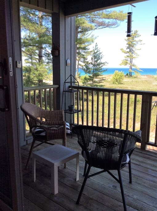 Back deck looking out to Lake MI
