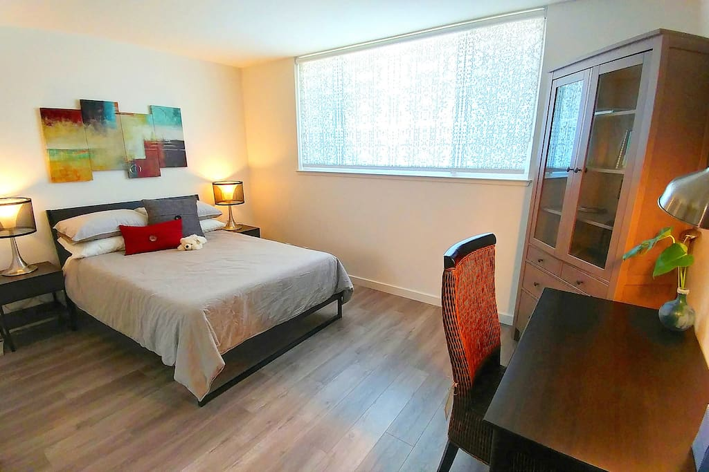 "Room#1. Fully furnished 140 sq ft bedroom with full-size bed, 13"" memory foam mattress, 6 pillows, night stands and desk. This room can be locked by preference."