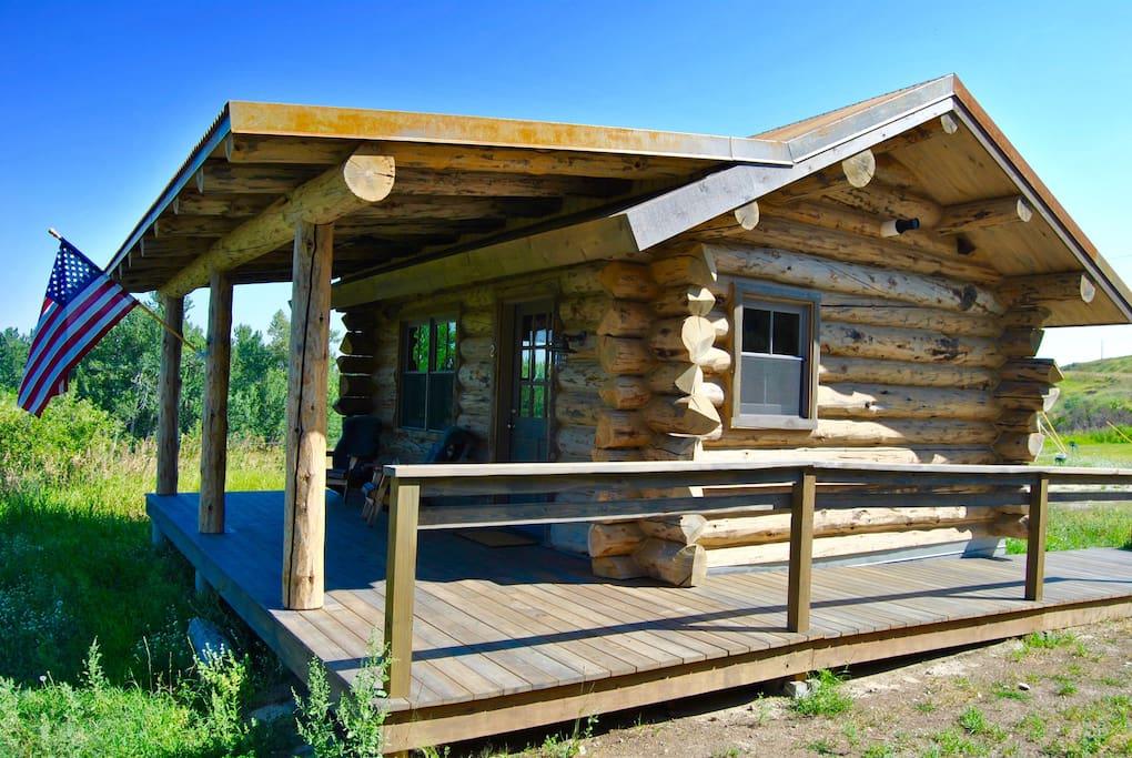 Luxury hand-hewn log cabin