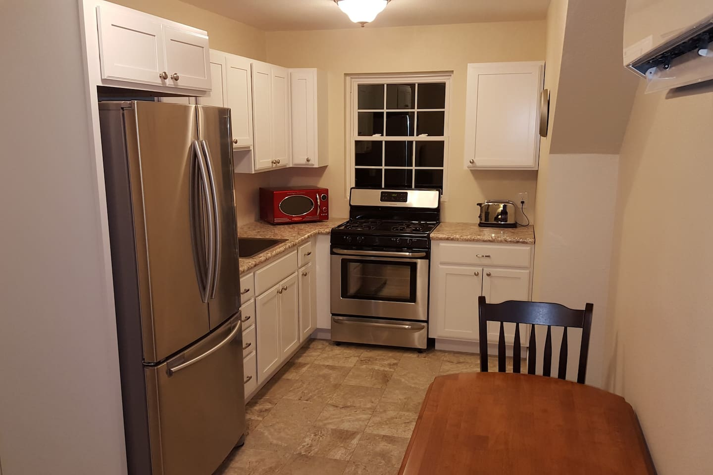 View of the fully equipped kitchen