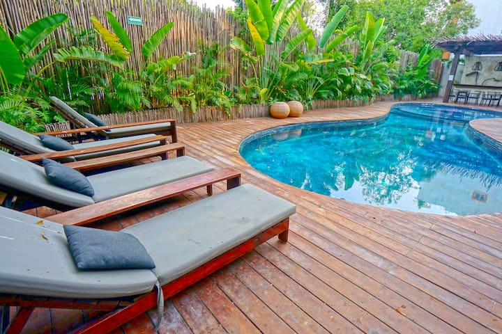 Cool off after a day at the beach in the spacious pool