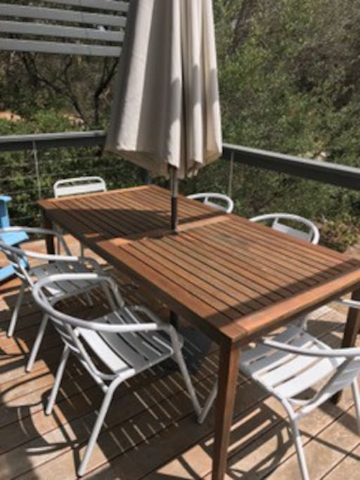 Sunny deck in summer