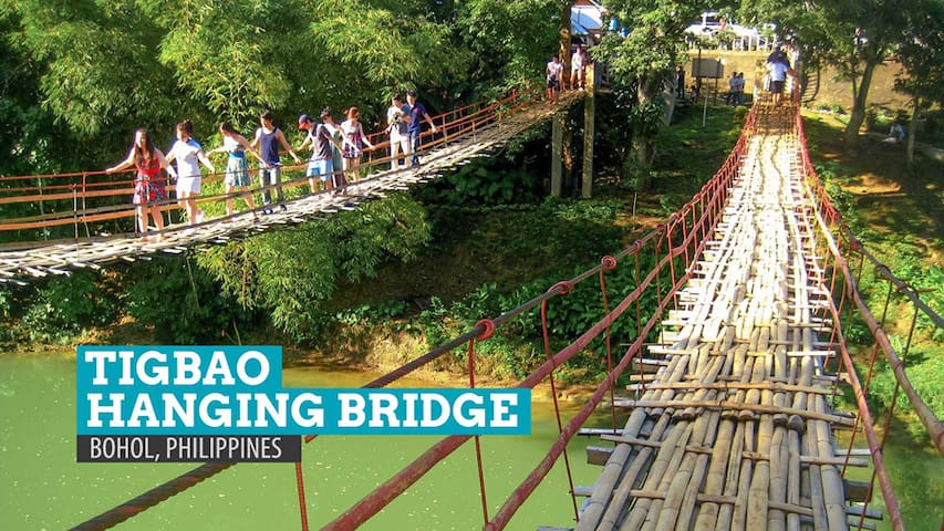 Famous hanging bridge, kids access for them to go to school.