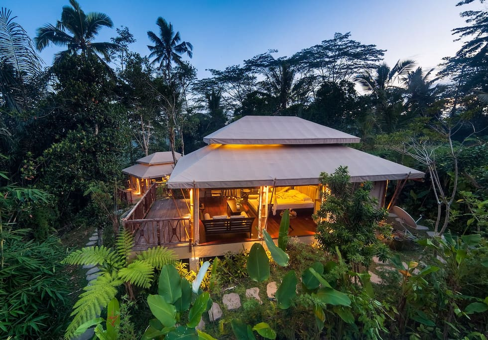 Dusk falling on our two safari tents surrounded by lush tropical forest