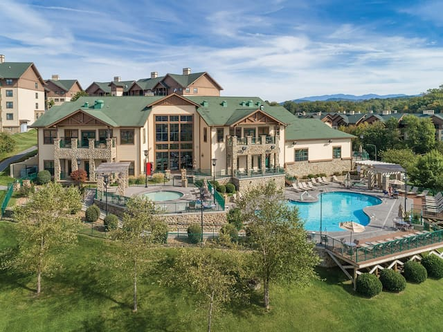This the activity center, it shows the hot tub on the left and the outdoor pool on the right. The sauna, game room and indoor pool are in this building.
