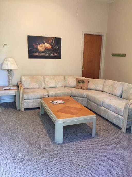 Large living room with refrigerator, microwave, TV with DVD player and coffee maker.
