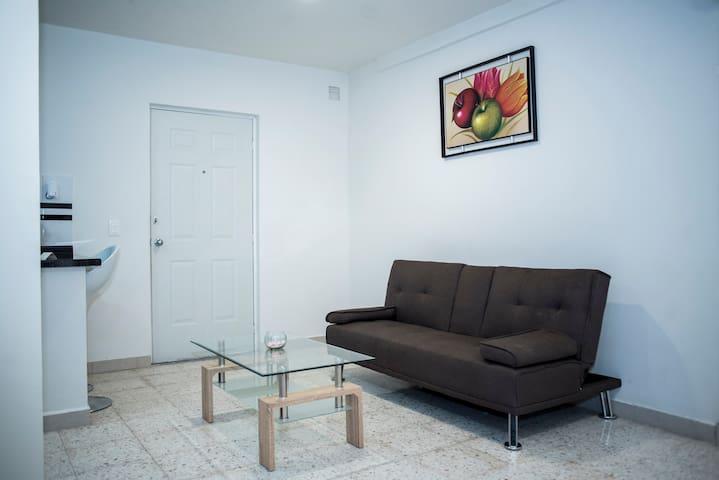 Sala de estar que consta de un sofá  cama y una mesa de centro propia de un loft como el Apto. 1 en una área bastante espaciosa