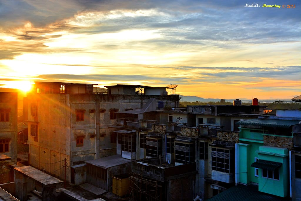 Sunrise view from rooftop terrace