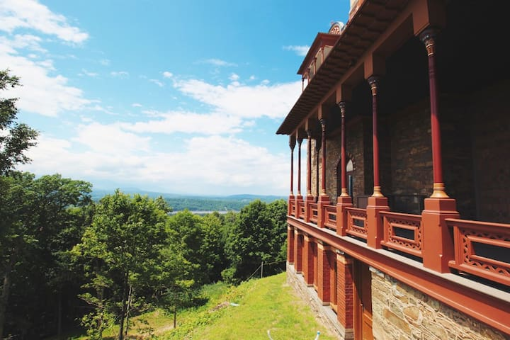 Ah...the beautiful Hudson River view from Olana! Don't miss it! This is a stunning property & home built by Frederic Church, the star of the Hudson River School of Painters. Open to the public.