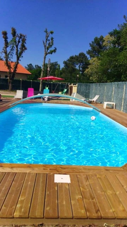 Villa de 4 chambres à Escource, avec piscine privée, jardin clos et WiFi - à 23 km de la plage