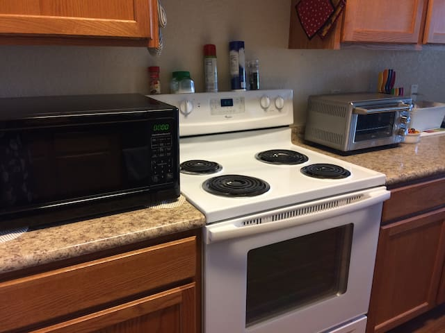 You're welcome to use the microwave, stove, oven and/or toaster oven if you want to prepare your own meals.