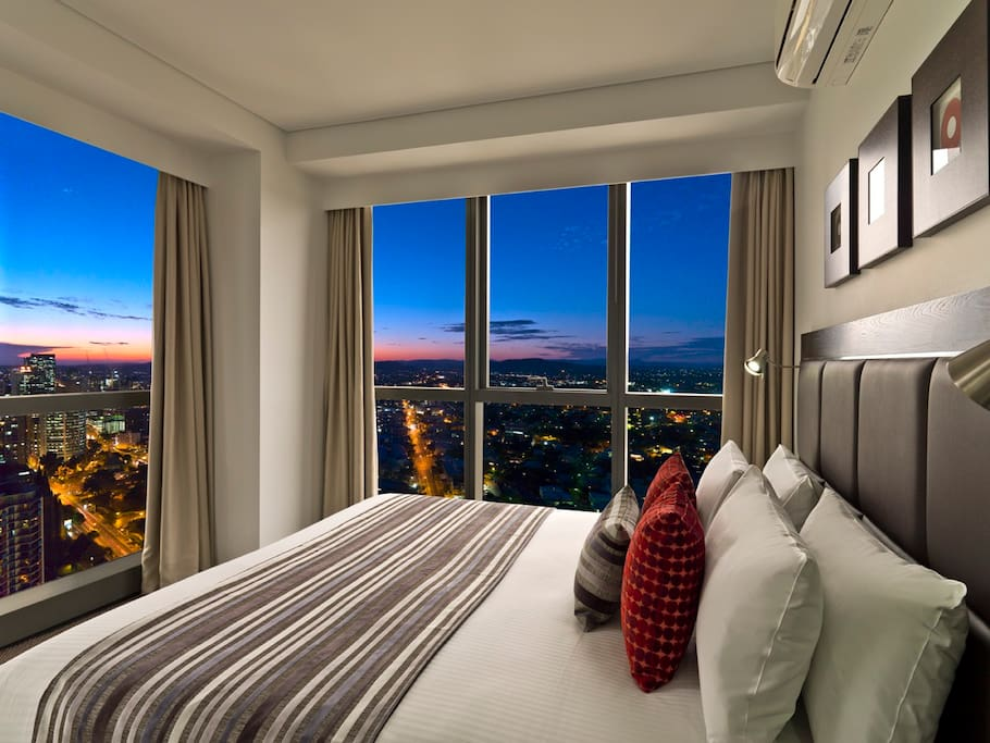 Bedroom is a corner with views of both sides. Skyline view :)