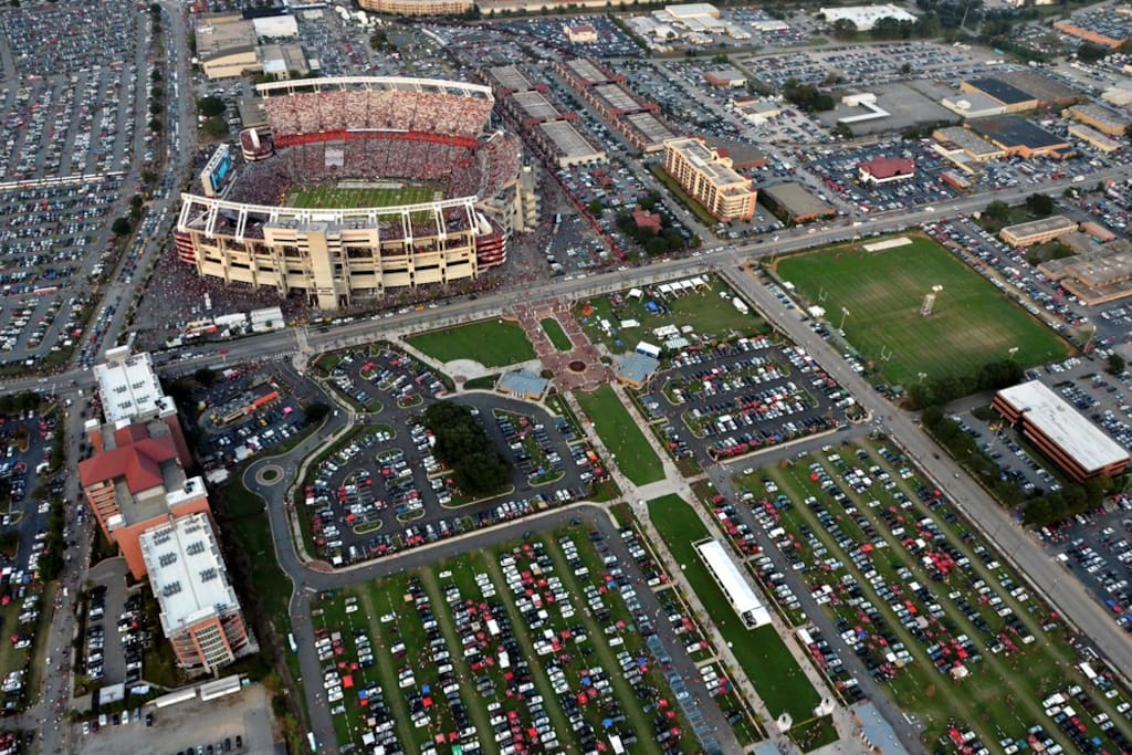 Aerial View of the Stadium and Farmers Market